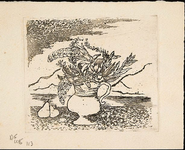 An image of Christmas card with vase of flowers in front of landscape