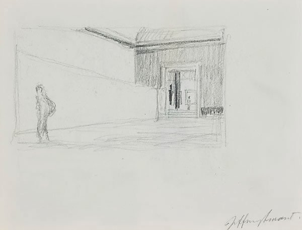 AGNSW collection Jeffrey Smart Drawing I for 'Margaret Olley in the Louvre Museum' 1995