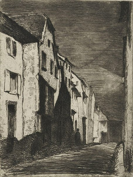 An image of Street at Saverne by James Abbott McNeill Whistler