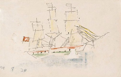 An image of (Sketch of a ship with a red flag) by Lyonel Feininger