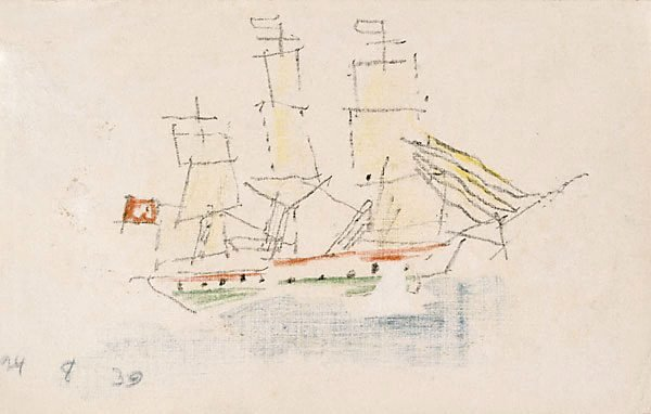 An image of (Sketch of a ship with a red flag)