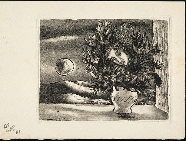 An image of Print based on the painting 'Flowers with a face and pheasant'