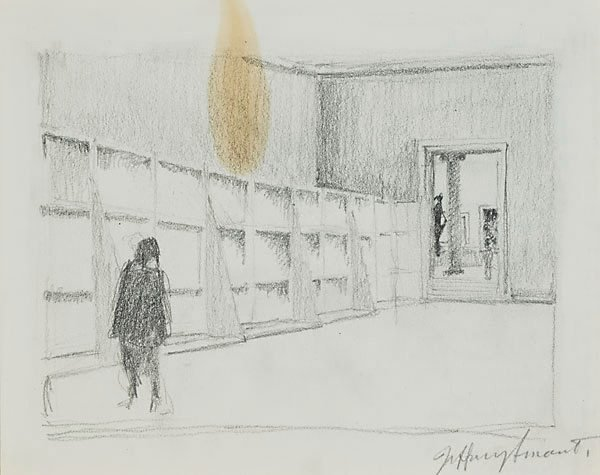 AGNSW collection Jeffrey Smart Drawing II for 'Margaret Olley in the Louvre Museum' 1995