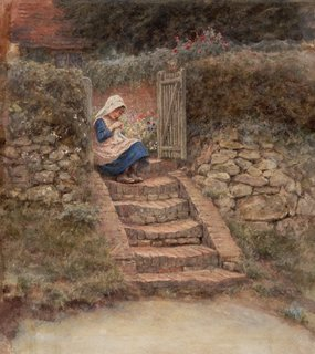 Sewing, (circa 1889) by Helen Allingham