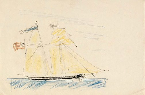 An image of (A two masted ship flying an American flag) by Lyonel Feininger