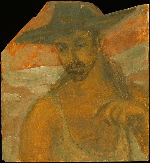An image of Man in singlet and hat (Study for figure in 'Hill End landscape') by David Strachan
