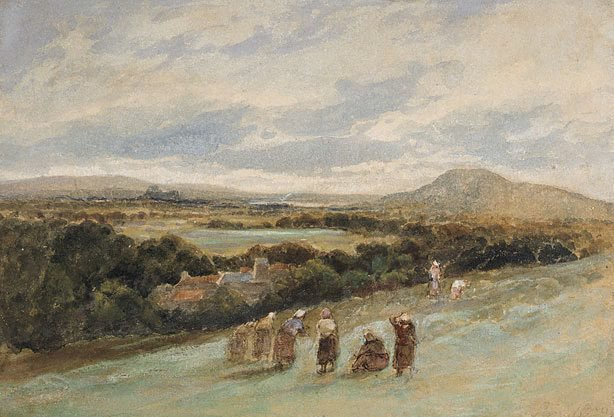 An image of Sketch - landscape with peasants