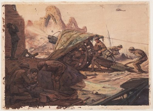 An image of Howitzer Battery in action by Napier Waller