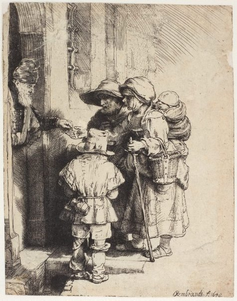 An image of Beggars receiving alms at the door of a house by Rembrandt Harmensz. van Rijn