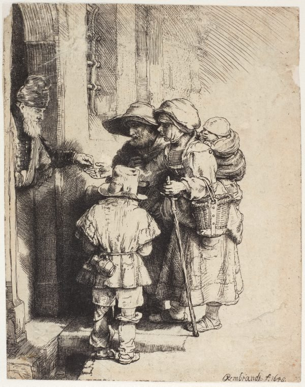 An image of Beggars receiving alms at the door of a house