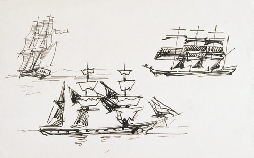 An image of (Three pen studies of ships) by Lyonel Feininger
