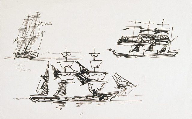 An image of (Three pen studies of ships)