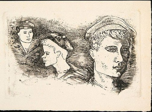 An image of Christmas card with faces of three sailors by David Strachan