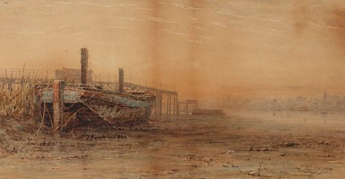 An image of Near Fulham docks (early dawn) by Charles Edward Hern