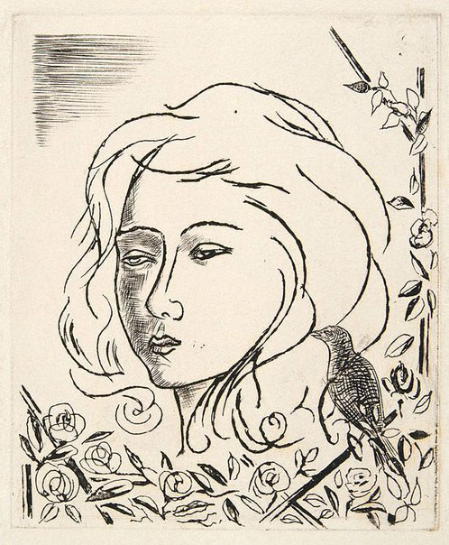 An image of Christmas card with woman's face, flowers and bird by David Strachan
