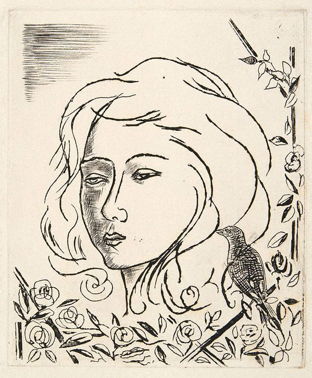 An image of Christmas card with woman's face, flowers and bird