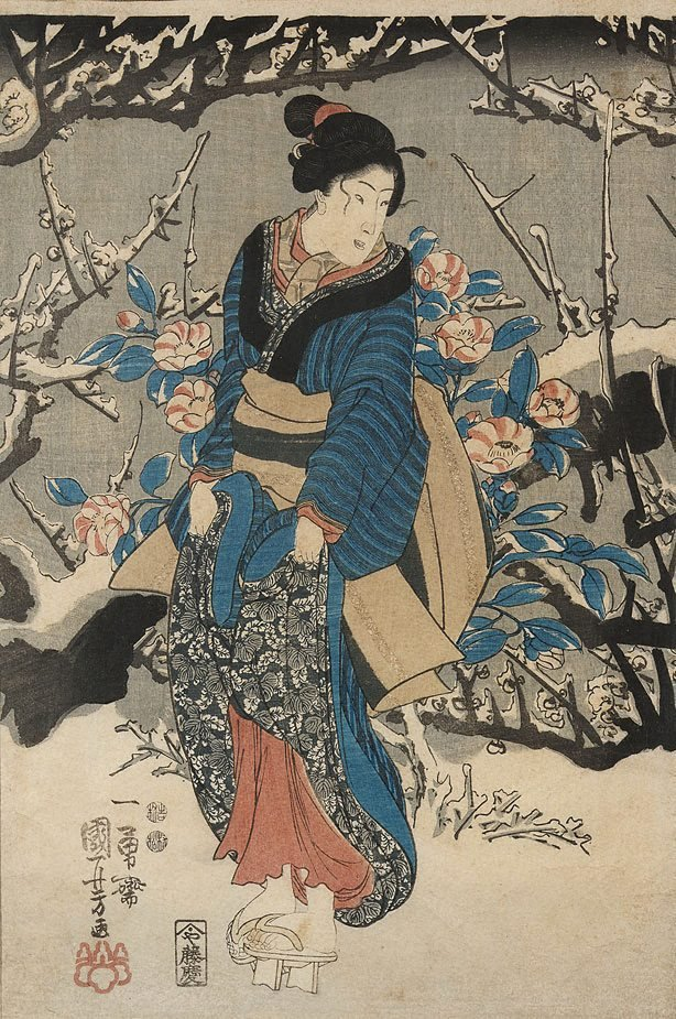 An image of (Woman in snowy garden)