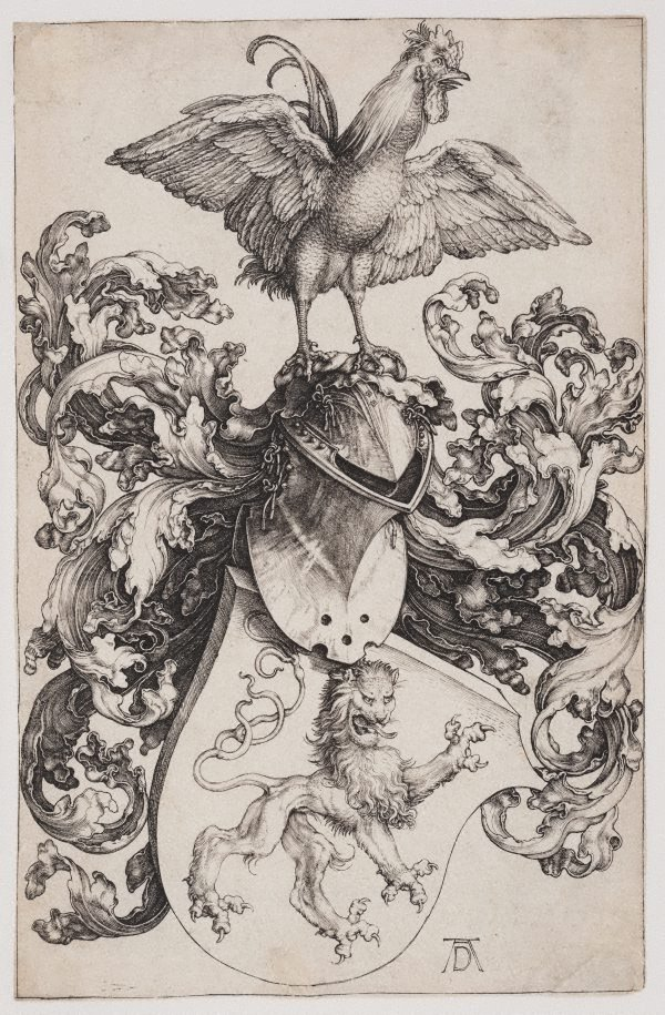 An image of Coat of arms with lion and cock