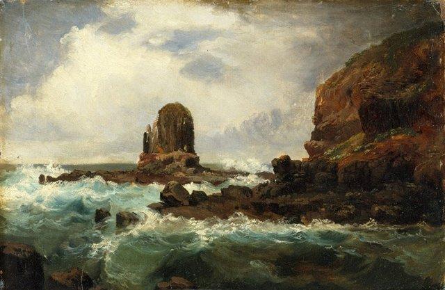 Pulpit Rock, Cape Schanck, Victoria, (1860s) by Nicholas Chevalier