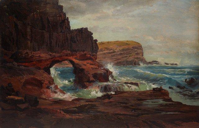 Tunnel Rock, Cape Schanck, Victoria, (1862) by Nicholas Chevalier