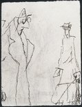 Alternate image of recto: (Man pulling a trolley), verso: (two figures) by Lyonel Feininger