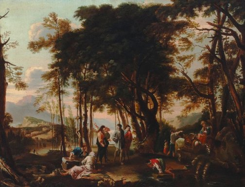 An image of The forest of the philosophers by Costa Conti, after Salvator Rosa