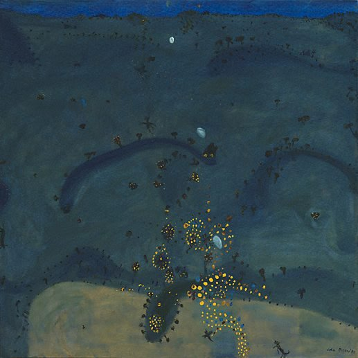 AGNSW collection John Olsen Nightfall, when wattle stains the doubting heart (1980) 45.1981