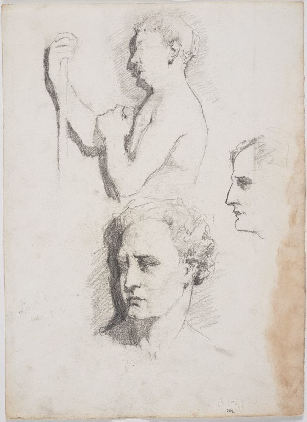 An image of recto: Self portrait as a Roman, Male model and Profile verso: Sketches for the male model