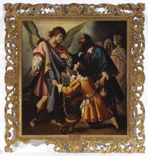 An image of Angel refusing the gift of Tobias by Unknown, after Giovanni Biliverti