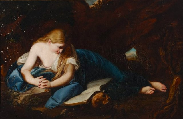 An image of Magdalene in a cave