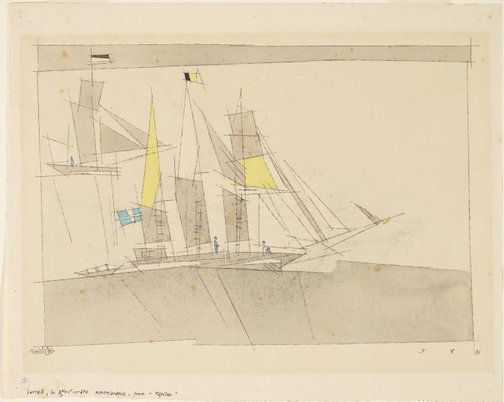 An image of (A three masted ship, and a yacht) by Lyonel Feininger