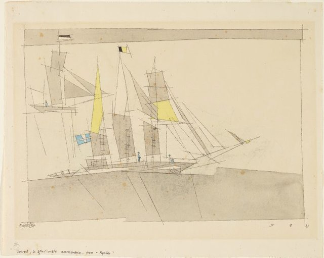 An image of (A three masted ship, and a yacht)
