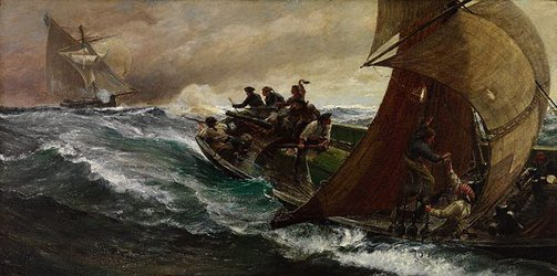 "An image of Smugglers: ""To save their necks"" by Charles Napier Hemy"