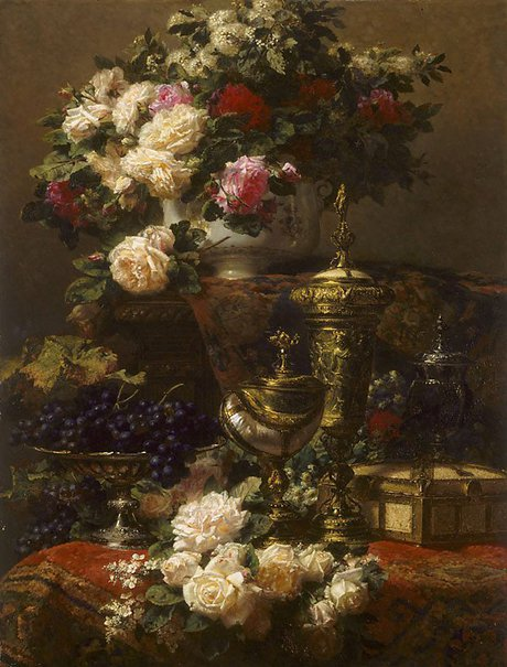 An image of Flowers and fruit by Jean-Baptiste Robie