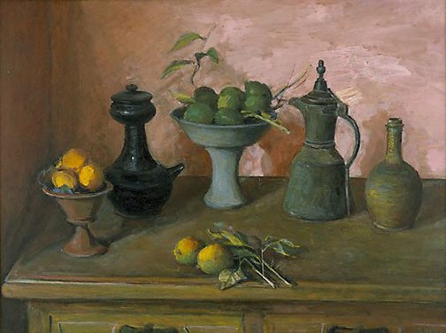 An image of Turkish pots and lemons by Margaret Olley