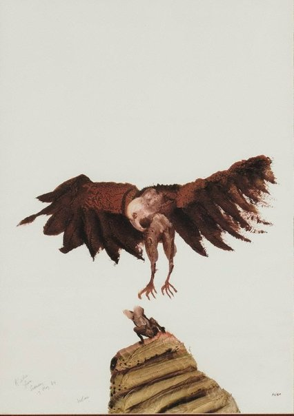 An image of Hawk hunting fish by Sidney Nolan