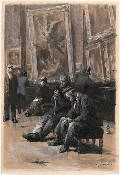 An image of In the Salon Carré, Louvre by Eugène Burnand