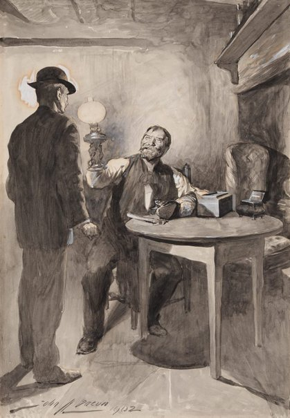 An image of Illustration (Shoe repairer holding a lamp up to the face of another man) by John-Henri-Frédéric Bacon