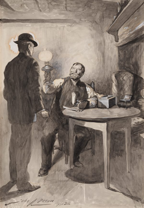 An image of Illustration (Shoe repairer holding a lamp up to the face of another man)