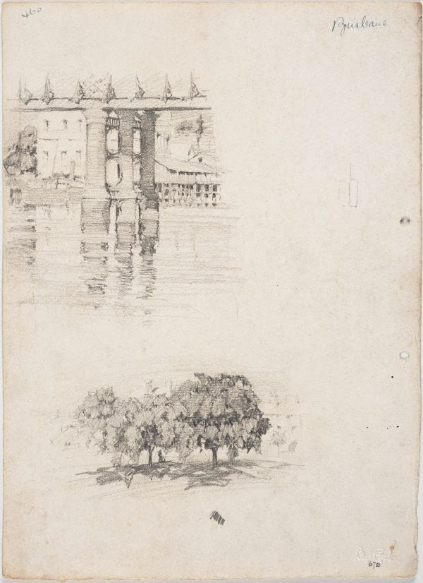 An image of recto: Piers of Victoria Bridge and Trees in the city verso: Trees in the city