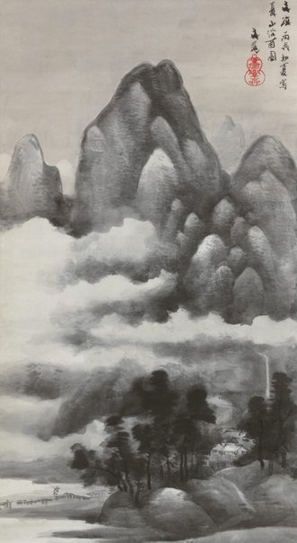 An image of Early summer mountains in the rain by Tani Bunchō