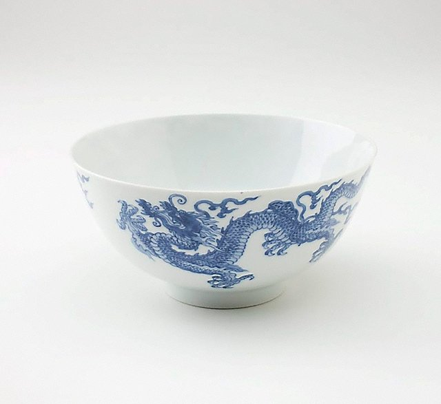 An image of Bowl depicting two dragons and two flaming pearls