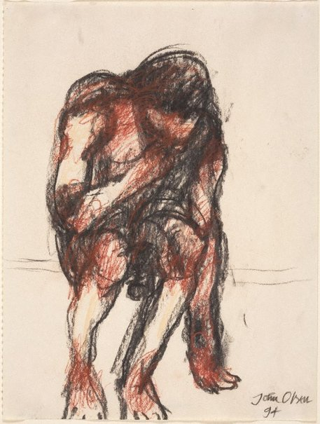 An image of (Seated male figure) by John Olsen