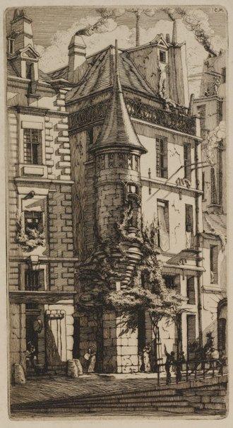 An image of House with a turret, rue de la Tixéranderie, Paris by Charles Meryon