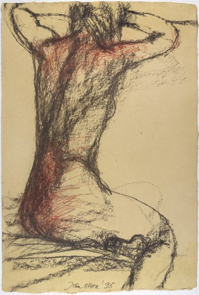 An image of (Seated female nude, back view) by John Olsen