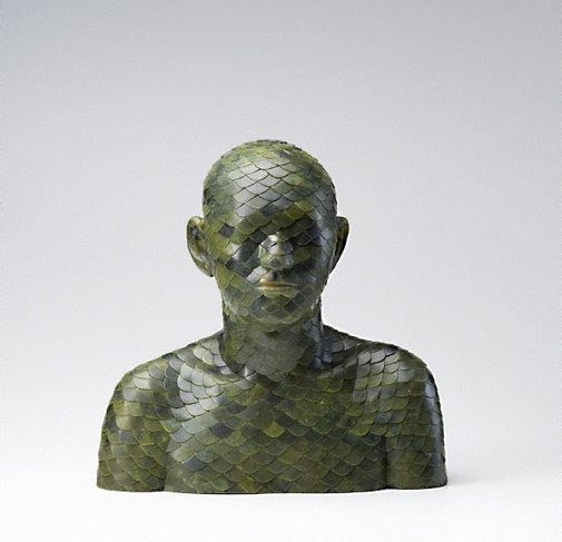 An image of Human, Human- Jade Inlay Bust 1 by Ah Xian