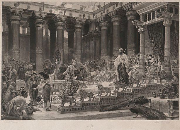 An image of The Queen of Sheba visiting the court of King Solomon