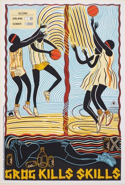 An image of Grog kills skills - basketball by Marie McMahon, Redback Graphix