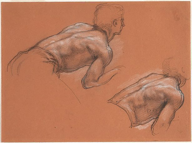 An image of Two studies of the back of a crouching man