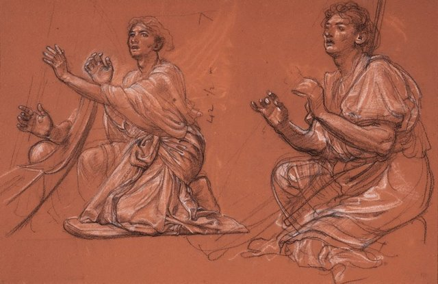 An image of Two studies of harp players